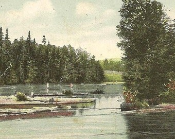 The Home of the Trout PRINCE EDWARD ISLAND - vintage postcard with peaceful river scene