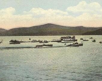 Saranac Lake ADIRONDACKS New York Motor Boat Racing vintage postcard