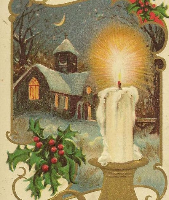 New Year's Vintage Postcard Candle and Church under Evening Sky - cancelled Chicago 1910