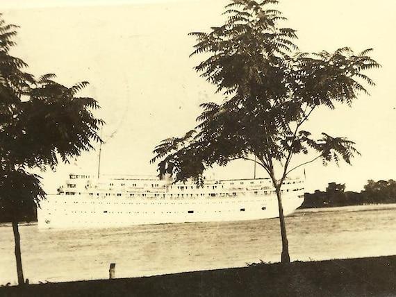 Marine City Michigan RPPC  Cruise Ship 1944 Marine City cancel and Numeral Duplex