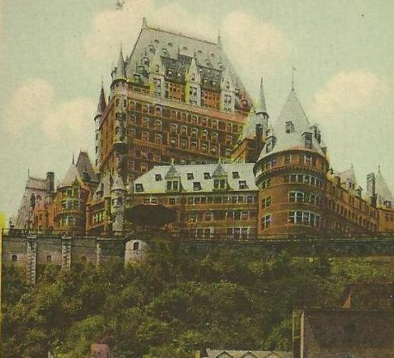 Chateau Frontenac from lower town QUEBEC CITY Vintage PECO Postcard1944 neat cancel