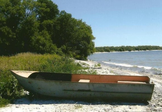 Landscape Photography Row Boat on the Beach on Blank Note Card - Great Guy Card or All Occasion Card