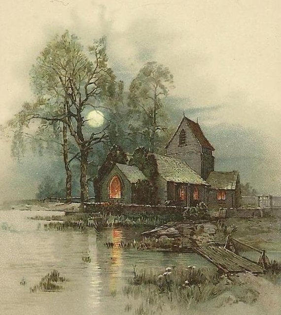 Victorian Scripture Card Full Moon and Church by the lake - Delicate Beauty from Swedish Sunday School Romans 6:23