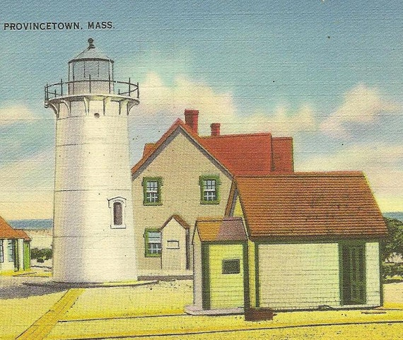 Race Point Light Provincetown Mass - Lighthouse on vintage linen postcard