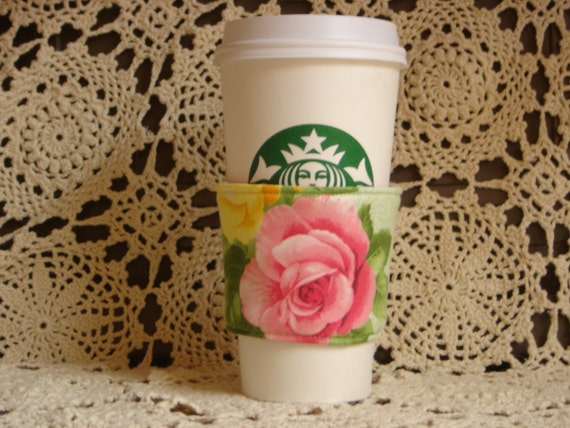 Coffee cup sleeve,  Roses, sleeve is reversible and fits starbucks small, medium and large to go cups