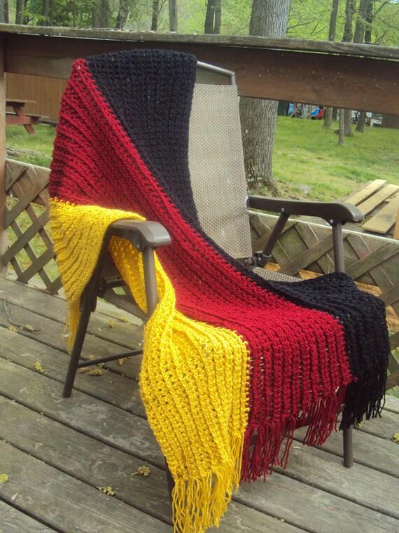 Soft Hand Made German Flag Throw Crochet Blanket