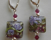 Lampwork Earrings with Fuchsia Emerald and Tanzanite Lamp Work Earrings Square Glass