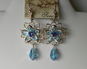 Aquamarine and Sapphire Swarovski Silver Flower Filigree Earrings on Sterling Silver Leverbacks
