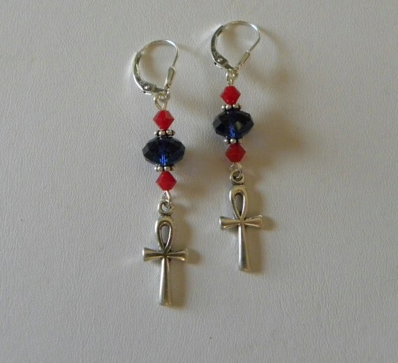 Egyptian Ankh Earrings with Swarovski Crystals on Sterling Silver
