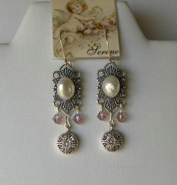 Silver Filigree Earrings, Pearls Earrings, Swarovski Crystal Earrings on Sterling Wires