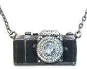 Camera Crystal Bronze Silver Leather Vintage Style Pendant Necklace
