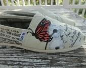 Custom hand painted TOMS design, butterfly dandelion garden