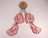 Leather Golondrina earrings by Laurel - Neon Coral