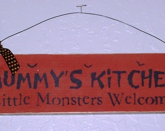 Rustic Mummy's Kitchen Little Monsters Welcome - Halloween Sign - Wooden Halloween Sign - Wooden Sign