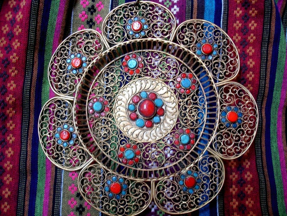 Indian Ornamental Filigree Wall Hanging Mandala