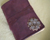 Journal Steampunk Red Rustic Diary or Scrapbook with Brass Flower-  6 x 8 in - Made  To Order