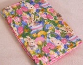 """Bunny Rabbit Journal Handmade Scrapbook or Diary and Free Bookmark Pink Interior 6"""" Width x 8"""" Height - Ready to Ship"""