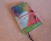 Whimsical Dreaming Tree Version 2 UltraSuede Journal with Watercolor Art 5.5 in x 7.5 in - Ready to Ship - OOAK