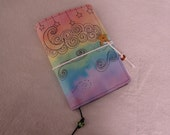 Dreaming Night Rainbow Version UltraSuede Journal with Watercolor Art 5.5 in x 7.5 in - Ready to Ship - OOAK