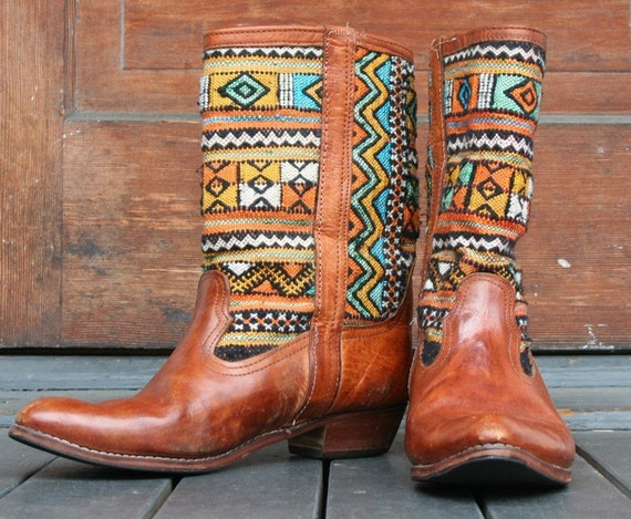 80s Woven Southwestern Style Boots 11.5