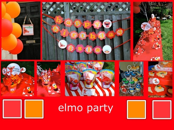 Elmo Birthday Party Packaged Set   Everything You Need  Banner, cupcake toppers, gift tags, bottle wraps, hats, centerpiece