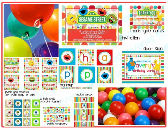 Custom for GABY Baby Sesame Street Birthday Party DIY Printable Set personalized invitation, decoration, labels, banner, and more