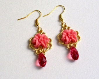 Pink resin flower  cabochon earrings with swarovski crystals
