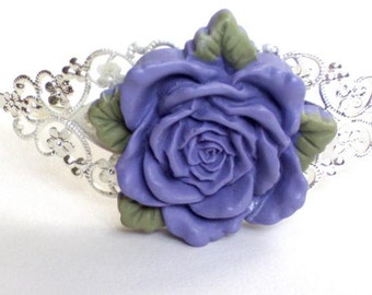 Silver plated headband with purple  resin rose with leaves  cabochon