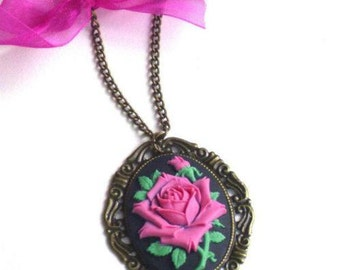 Fuchsia, embossed, rose, resin cabochon, resin necklace, vintage style, wedding, bridesmaid, christmas