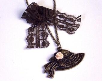 Vintage style hat necklace, lace, antique, brass, cabochon