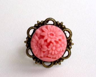 Pink rose, antique brass fligree, adjustible ring a perfect gift for her, mothers day.