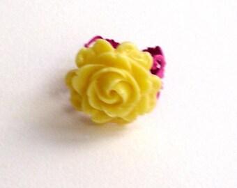 Yellow rose, pink filigree,adjustible ring, resin flower ring, cabochon ring,