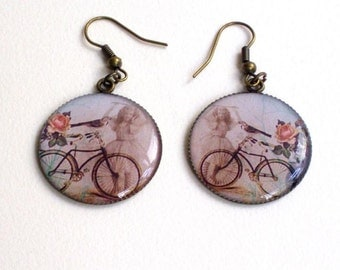 Resin cabochon, bicycle design earrings