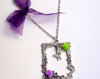 Antique silver plated frame neclace (silver plated metal, resin flower, resin, rose, bird, cabochon, purple, lila, green, ribbon, organza)