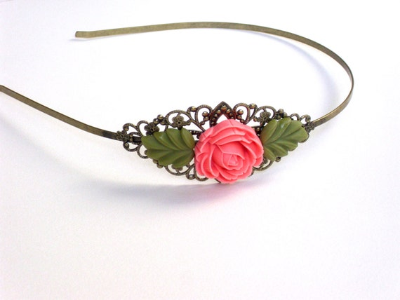Brass headband with pink rose and leaves resin cabochon, resin headband, vintage style, bridesmaid
