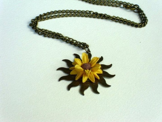 Yellow Sun Necklace, resin, cabochon, sun flower, necklace, jewelry, brass, sun, vintage style