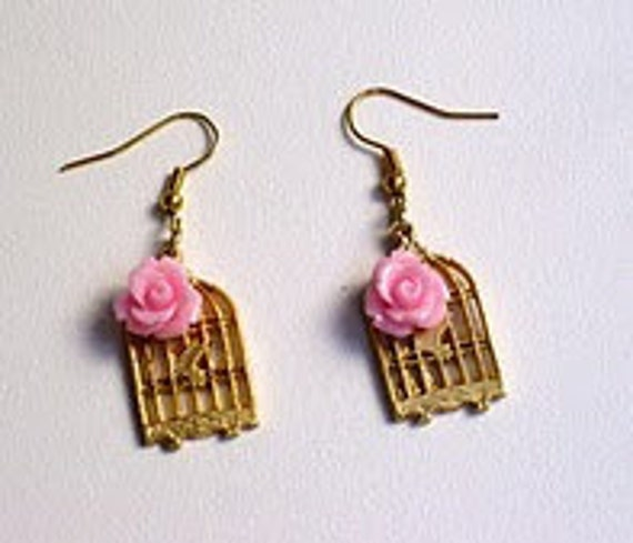 Pink colored resin rose cabochon earrings
