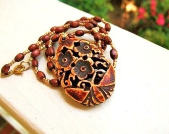 Beaded Wood Necklace with Resin Pendant