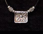 Four Petal Flower Silver Pendant