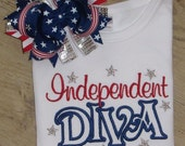 Independent Diva, 4th of July Shirt Embroidery Shirt, July 4th