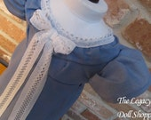 Dusty Blue Regency Dress with Lace and Ruffled Sleeves