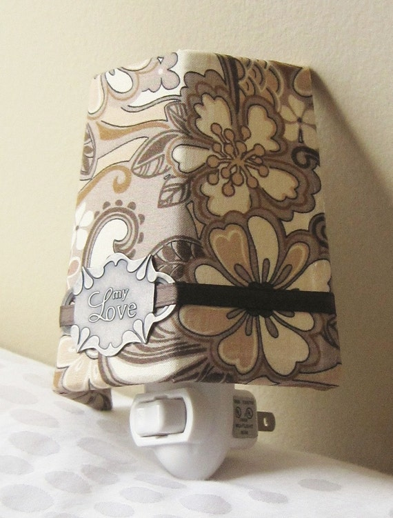 My Love - Tan and Brown Floral - Night Light