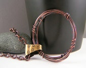Wire Wrapped Copper Pendant Womens Rustic Necklace