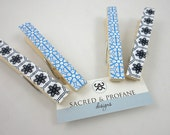 Clothespins Pegs Pale Blue and Black for Wedding Decor, Office, Back to School - Set of 4