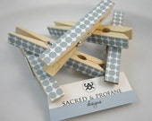 Grey Dotted Wooden Clothespins - Set of Five - Party Decor, Office Home Organization