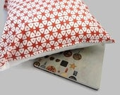 Decorative Pillow Cover African Tribal Style with Red and White Geometrical Shapes Linen Cotton 16 x 16 inches