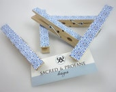 Clothespins Pegs - Set of Five Blue Patterned Wooden Clothepins for School, Office, Wedding Decor