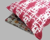 Throw Pillow Cover Cotton in Hot Pink and White abstract Shabby Chic Design