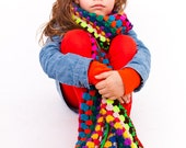 multicolored long crochet scarf
