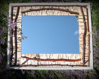 Twiggy &  Birch Bark lined Home Decor Mirror